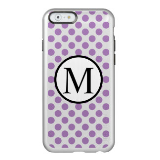 Monograma simples com bolinhas da lavanda capa incipio feather® shine para iPhone 6