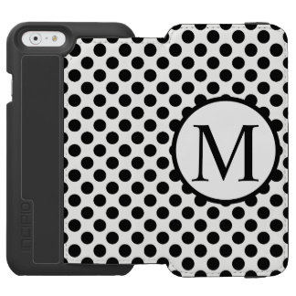 Monograma simples com bolinhas pretas capa carteira incipio watson™ para iPhone 6