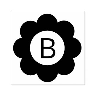 Monograma simples da flor carimbo de borracha