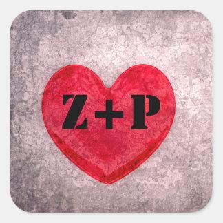 Monograma Stonewashed do coração personalizado Adesivo Quadrado