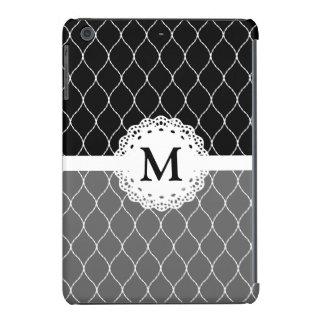Monograma - teste padrão preto e branco à moda do capa para iPad mini retina