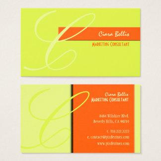 Monograma, tom no tom {fundo customizável} cartão de visitas