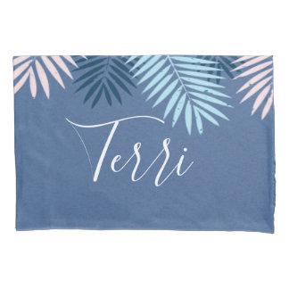 Monograma tropical azul moderno do paraíso