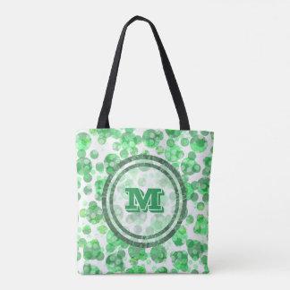 Monograma verde afligido bolinhas bolsa tote
