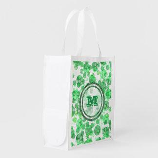 Monograma verde afligido bolinhas sacola ecológica