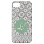 Monograma verde claro con mosaico de azulejo 7 capa para iPhone 5