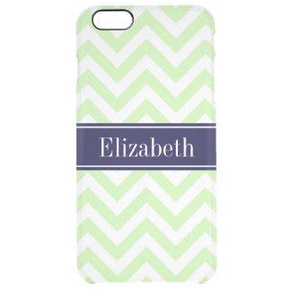 Monograma verde do nome dos azuis marinhos do LG Capa Para iPhone 6 Plus Clear