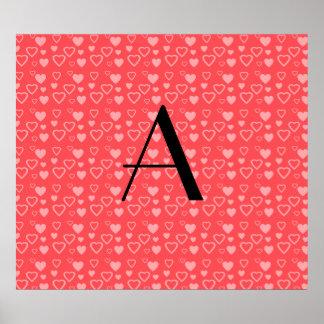 Monograma vermelho claro dos corações impressão
