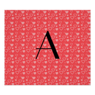 Monograma vermelho claro dos corações poster