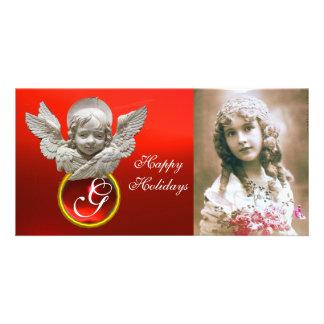 Monograma vermelho da gema do rubi do ANJO Cartão Com Foto