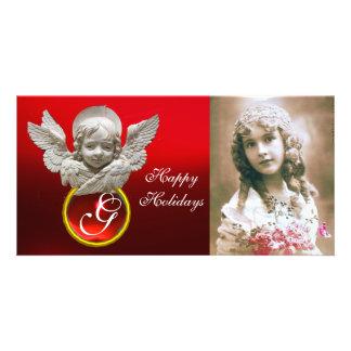 Monograma vermelho da gema do rubi do ANJO FLORENT Cartão Com Foto