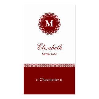 Monograma vermelho elegante do laço de Chocolatier Cartão De Visita