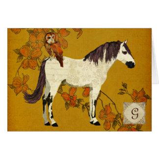 Monograma violeta Notecard do cavalo & da coruja Cartao