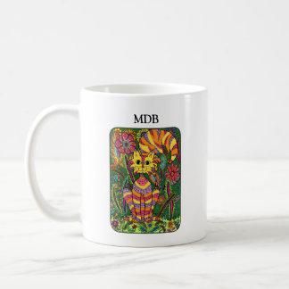 Monograma vívido do costume da arte popular do caneca de café