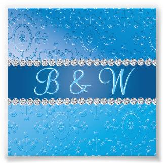 Monogramas azuis gravados do aniversário da flor impressão de foto