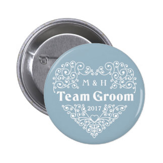 Monogramas do noivo da equipe & botões de bóton redondo 5.08cm