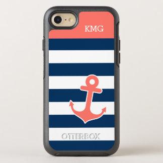 Monogramas náuticos listrados da âncora do marinho capa para iPhone 7 OtterBox symmetry