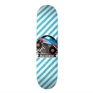Monster truck do tubarão; Bandeira Checkered; Shape De Skate 21,6cm