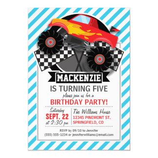 Monster truck vermelho; Bandeira Checkered; Convite 12.7 X 17.78cm