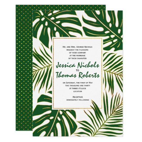 Monstera tropical, casamento do ouro verde das convite 12.7 x 17.78cm