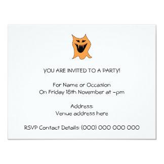 Monstro alaranjado convite 10.79 x 13.97cm