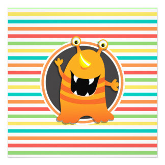 Monstro alaranjado Listras brilhantes do Convites