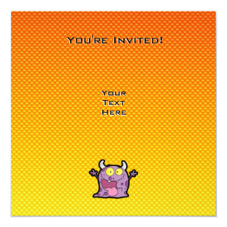 Monstro amarelo alaranjado do lil convite quadrado 13.35 x 13.35cm