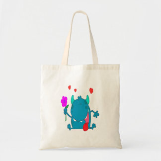 monstro azul bonito do amor bolsa tote