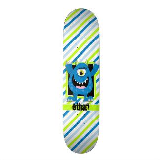 Monstro azul;  Listras verdes, brancas de néon Shape De Skate 21,6cm