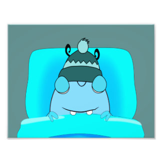 Monstro azul no sono da cama impressão de foto