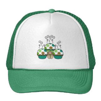 Monstro bonito com verde & cupcakes de Brown Polka Bonés