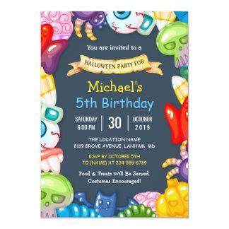 Monstro coloridos da festa de aniversário do Dia Convite 12.7 X 17.78cm