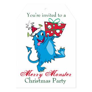 Monstro com presente do Natal Convite 12.7 X 17.78cm