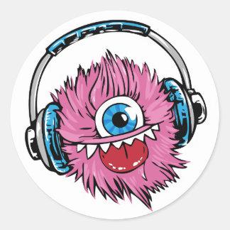 Monstro cor-de-rosa da música das etiquetas com adesivo