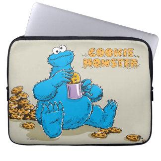 Monstro do biscoito do vintage que come biscoitos bolsas e capas de notebook