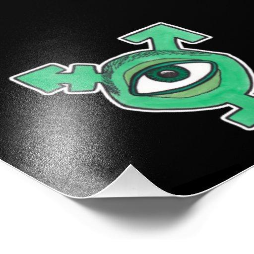 Monstro do globo ocular do verde do símbolo do Tra Impressão Fotográfica