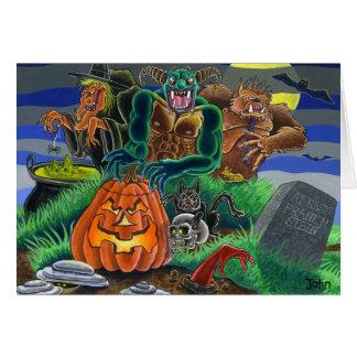 Monstro e fantasmas felizes do Dia das Bruxas Cartão Comemorativo