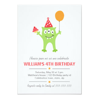 Monstro engraçado com aniversário do balão e do convites personalizado
