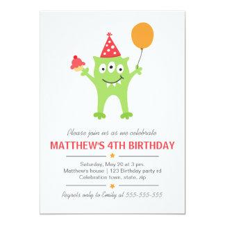 Monstro engraçado com aniversário do balão e do convite 12.7 x 17.78cm