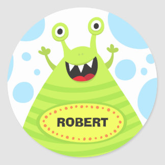 Monstro engraçado etiqueta de nome personalizada p adesivo
