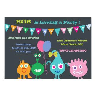Monstro felizes - festa de aniversário convite 12.7 x 17.78cm