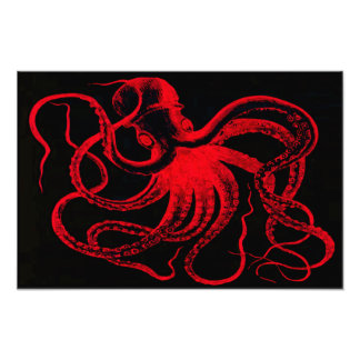 Monstro náutico de Kraken do vintage de Steampunk  Impressão De Foto