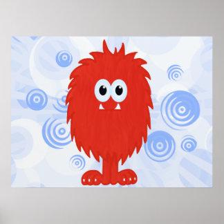 Monstro peludo vermelho & impressão azul dos redem