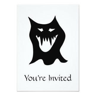 Monstro preto e branco convite 12.7 x 17.78cm