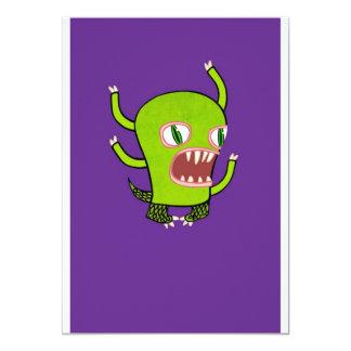 Monstro roxo convite 12.7 x 17.78cm