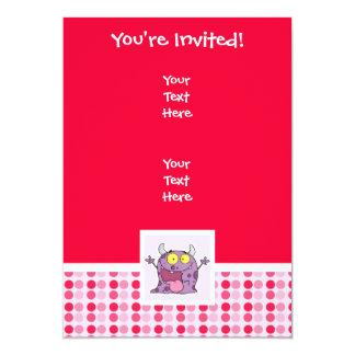 Monstro roxo feliz bonito convite 12.7 x 17.78cm