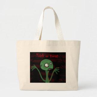 Monstro verde do Dia das Bruxas Bolsa Tote Grande
