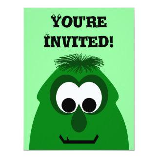 Monstro verde escuro pequeno parvo convites personalizados