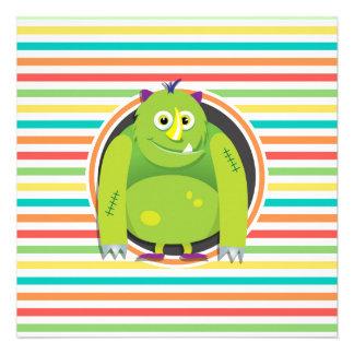 Monstro verde Listras brilhantes do arco-íris Convite Personalizado