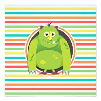 Monstro verde; Listras brilhantes do arco-íris Convite Personalizado